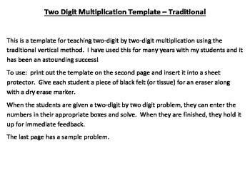 Multiplication Template Printable