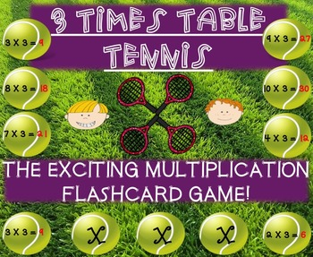 Multiplication Tennis Game - 3 Times Tables!
