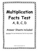 Multiplication Test A-D