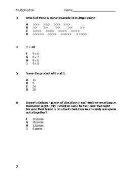 Multiplication Test Quiz Assessment