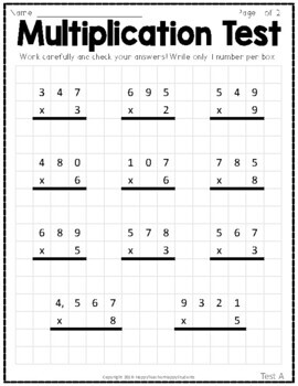 Multiplication Tests: Two 2-Page Tests with Answer Keys