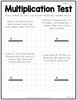 Multiplication Tests: Two 2-Page Tests (Quizzes) with Answer Keys