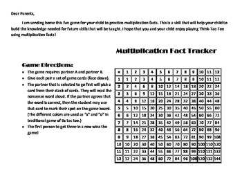 Multiplication Think-Tac-Toe