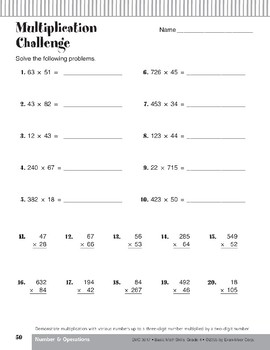 Multiplication: Three-Digit Numbers by Two-Digit Numbers