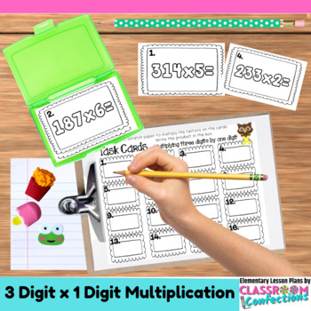 4th Grade Math: Three Digit Multiplication Task Cards: Math Centers: Math Worksh