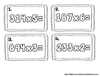 4th Grade Math: Three Digit Multiplication Task Cards: Math Centers: Math Worksh