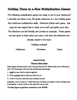 Multiplication Three in a Row Holiday Games with Instructions