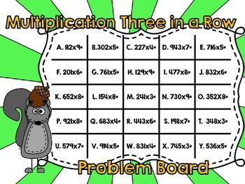 Multiplication Three in a Row-Three Digits by One Digit