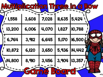 Multiplication Three in a Row-Two  and Three Digits by Two Digits