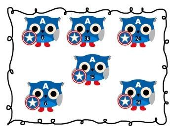Multiplication Threes Game: Superhero Owl