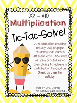 Multiplication Tic-Tac-Solve! x2-x10 Multiplication Center Bundle - No Prep!