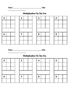 Multiplication Tic Tac Toe