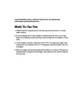 Multiplication Tic-Tac-Toe (1-12)