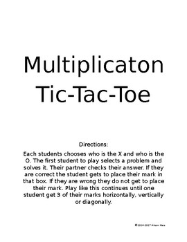 Multiplication Tic-Tac-Toe