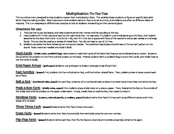 Multiplication Tic-Tac-Toe Choice Menu for Practice and Mastery of Basic Facts