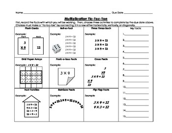 Multiplication Tic-Tac-Toe Choice Menu for Practice and Ma