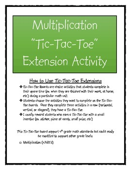 Multiplication Tic-Tac-Toe Extension Activity