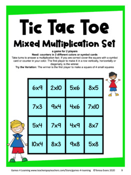Multiplication Free: Multiplication Facts Tic Tac Toe Multiplication Games