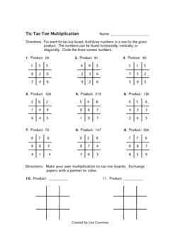 Multiplication Tic-Tac-Toe activity
