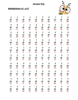 Multiplication Timed Math Drills 100 Problems (Bee Themed)