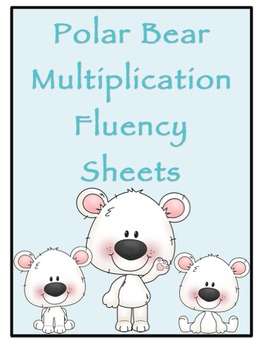 Multiplication Timed Math Drills 100 Problems (Polar Bear Themed)