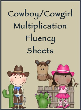 Multiplication Timed Math Drills 100 Problems (Cowboy/Cowgirl Themed)