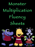 Multiplication Timed Math Drills 100 problems (Monster Themed)