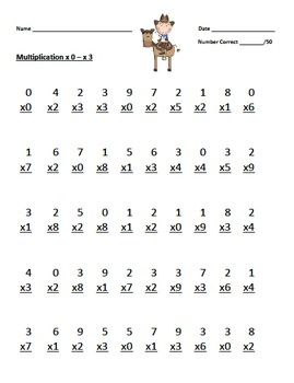 Multiplication Timed Math Drills 50 Problems (Cowboy/Cowgirl Themed)