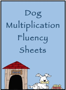 Multiplication Timed Math Drills 50 Problems (Dog Themed)