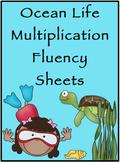 Multiplication Timed Math Drills 50 Problems (Ocean Themed)