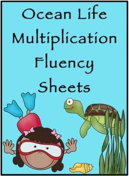 Multiplication Timed Math Drills 50 Problems (Ocean Themed)