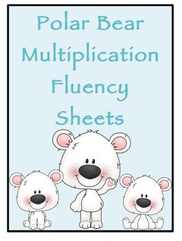 Multiplication Timed Math Drills 50 Problems (Polar Bear Themed)