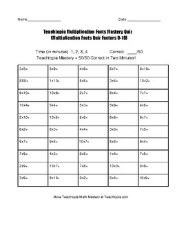 Multiplication Timed Math Fact Quiz by Teachtopia. Factors 0-10 Math Fact Quiz