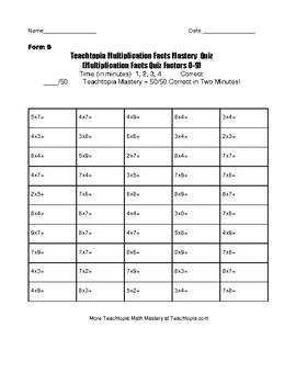 Multiplication Timed Math Fact Quiz by Teachtopia. Factors 0-9 Math Fact Quiz
