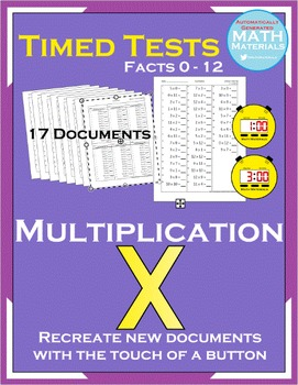 Multiplication Timed Tests (Facts 0-12) - Automatic Generator