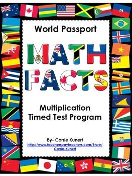 Multiplication Timed Test World Passport Program- No Lines Version (Common Core)