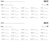 Multiplication Timed Tests - 1s-12s