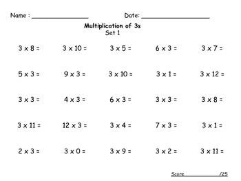 Multiplication Timed Tests Set 1 (0-12)