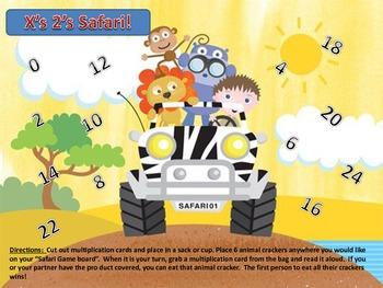 Multiplication Times 2's facts Safari Animal Cracker Center Partner Class Game!