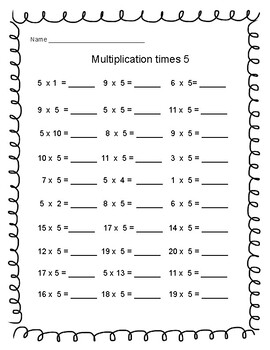 Multiplication Times 5