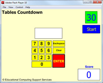 Multiplication Times Table Countdown Game for Interactive Whiteboard
