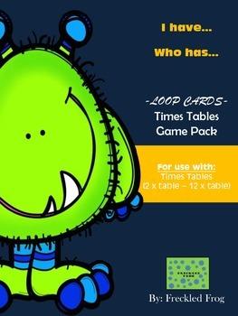 Multiplication Times Table Loop Cards