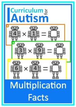 Robots Times Table Multiplication Facts Write & Wipe, Autism, Special Education