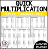 Multiplication Times Table Worksheets - Mental Math or Early Finisher