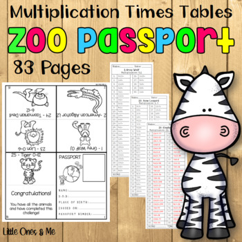 Multiplication Times Table Zoo Passport