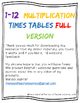 Multiplication Times Tables Wall Cards/Posters/Small Booklet