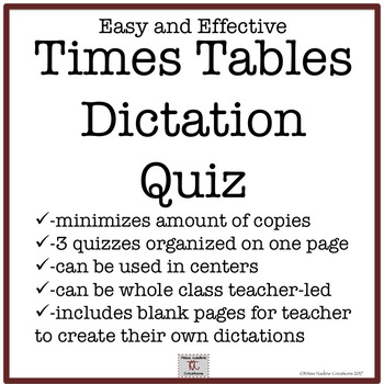 Multiplication/Times Tables Dictation Quizzes- Easy and effective management