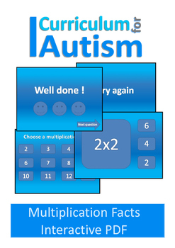 Multiplication Times Tables Paperless Interactive PDF Autism Special Education