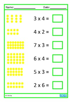 Multiplication Times Tables Worksheets, Autism, Special Education