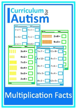 Multiplication Times Tables Math Worksheets, Autism, Speci